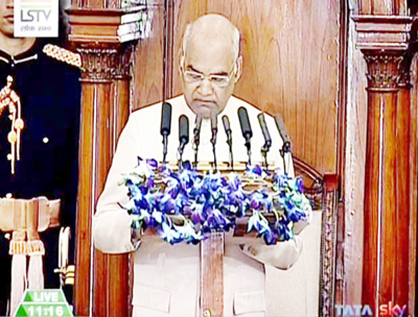A TV grab shows President Ramnath Kovind addressing the joint session of Parliament in New Delhi on Monday. (UNI)