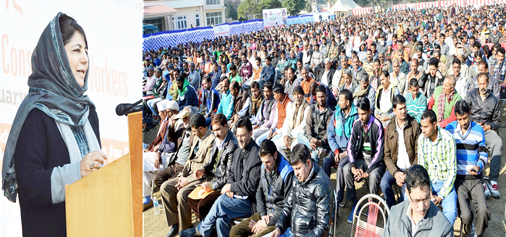 Chief Minister Mehbooba Mufti addressing the gathering at launch of 'Muhafiz' in Jammu on Monday.