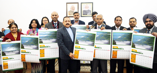 Union DoNER Minister Dr Jitendra Singh releasing 2018 wall- calendar prepared by the Union Ministry of Northeast / DoNER, at New Delhi on Monday.
