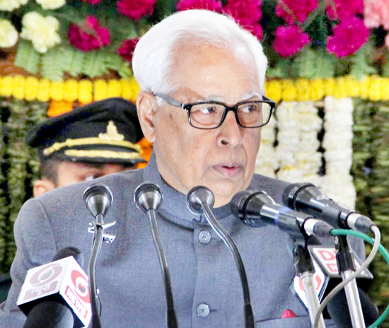 Governor N N Vohra addressing Joint Session of Legislature in Jammu on Tuesday. -Excelsior/Rakesh