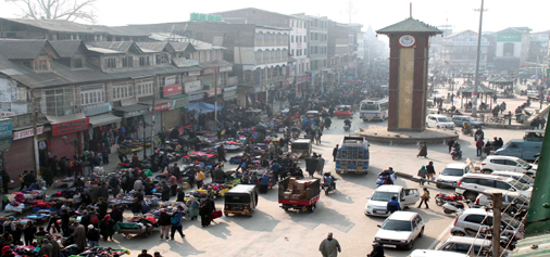 An aerial view of business hub of Srinagar Ganta Ghar on Sunday. (UNI)