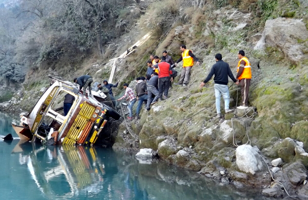 Ill-fated vehicle after accident at Khora Pani near Koral bridge in District Ramban. -Excelsior/Parvaiz