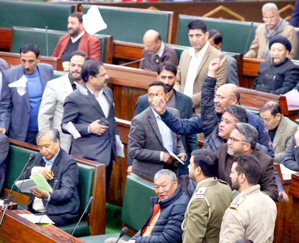 Congress MLAs staging walk-out in the Assembly on Tuesday. -Excelsior/Rakesh