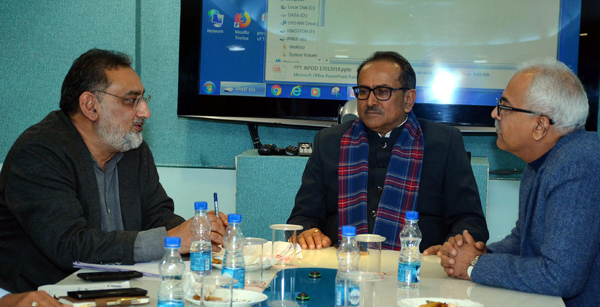 Deputy CM Dr Nirmal Singh and Finance Minister Dr Haseeb Drabu at the meeting in New Delhi on Wednesday.
