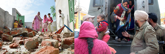 Part of a house flattened by Pak shelling in Hiranagar sector (left) and people being evacuated in a bunker in R S Pura sector on Friday (right). -Excelsior pics by Pradeep & Rakesh