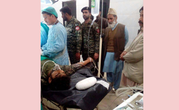 A Pakistani Ranger in critical condition at Sialkot hospital of Pakistan.