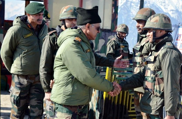 Northern Army Commander Lt Gen D Anbu interacting with troops in Kupwara sector on Wednesday.