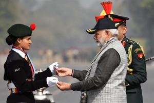 Prime Minister Narendra Modi at the NCC Rally in New Delhi on Sunday. (UNI)