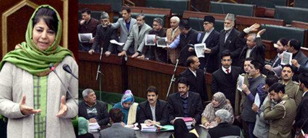 Chief Minister Mehbooba Mufti speaking in the Assembly (left) and Opposition MLAs protesting against Shopian killings (right). -Excelsior/Rakesh