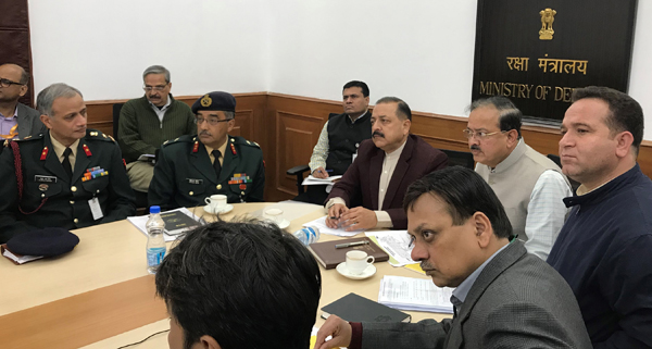 Union Minister Dr Jitendra Singh, flanked by MoS Defence Dr Subhash Bhamre and J&K Transport Minister Sunil Sharma, presiding over a joint meeting of senior officers of J&K Government and Defence authorities, to finalise the construction of an upgraded Airstrip for full-fledged Airport facility at Kishtwar, on Tuesday.