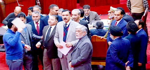 MLCs protesting in the Legislative Council on Wednesday. —Excelsior/Rakesh