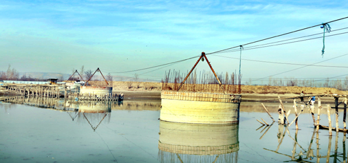 A view of incomplete bridge in Jetty area of Baramulla. -Excelsior/Aabid Nabi