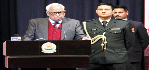 Governor N N Vohra delivering presidential address at Mufti Sayeed Commemoration Day function at Jammu on Monday.