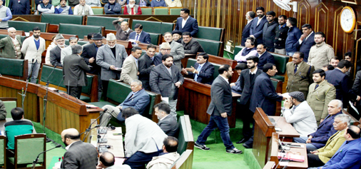 Opposition MLAs staging walkout from Legislative Assembly on Wednesday. —Excelsior/Rakesh