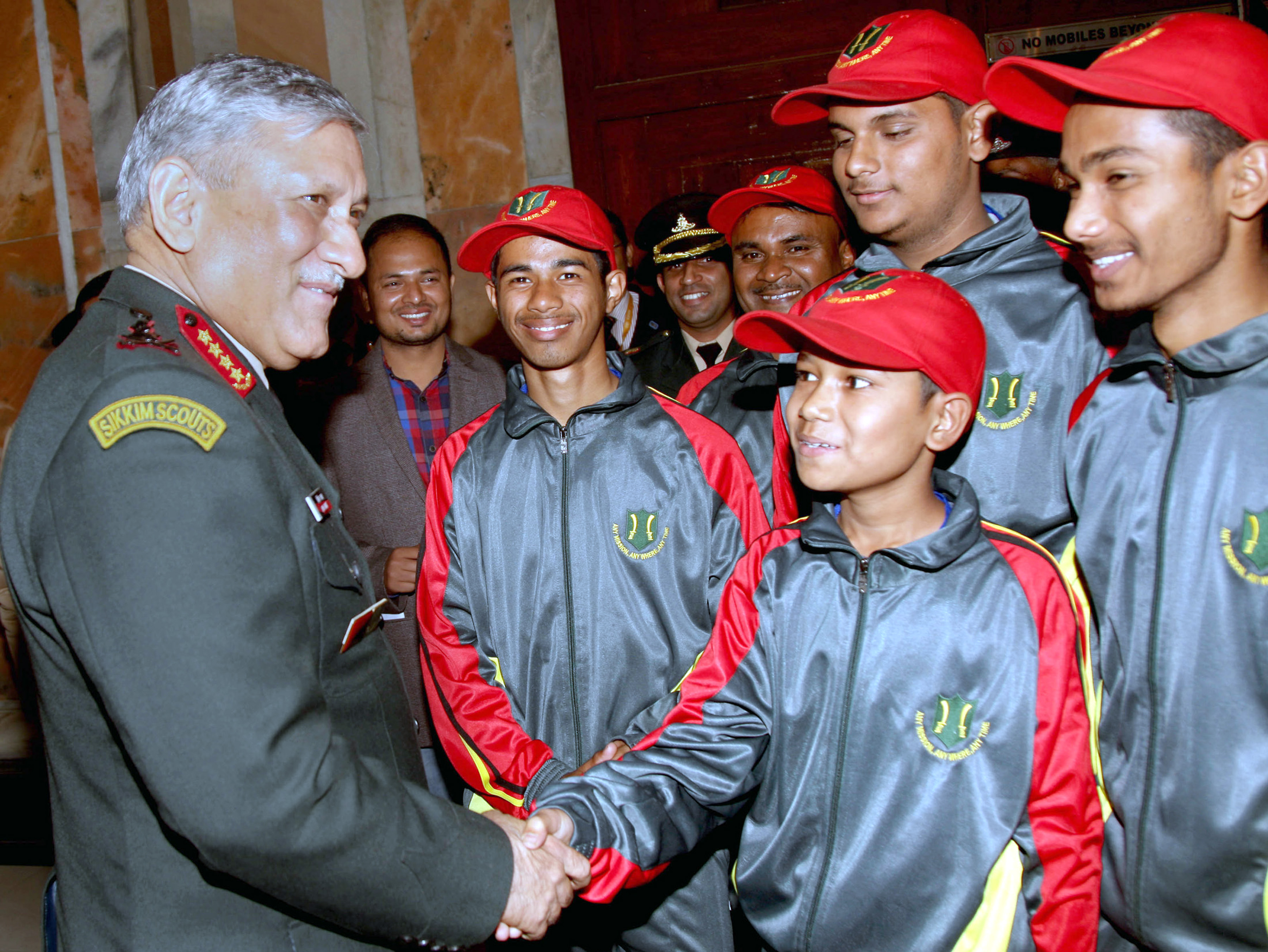 Chief of Army Staff, Gen Bipin Rawat interacting with the children on a National Integration Tour from Assam and Arunachal Pradesh, in New Delhi on Tuesday.