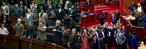 Opposition members protesting in the Assembly (left) and Council (right). -Excelsior/Rakesh