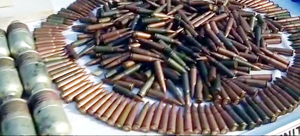Ammunition and other material seized by security forces from militants killed in Uri on Monday.