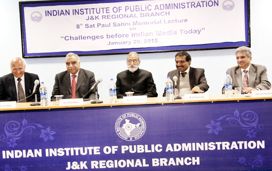 Dignitaries during Sat Paul Sahni Memorial Lecture by IIPA on Saturday.