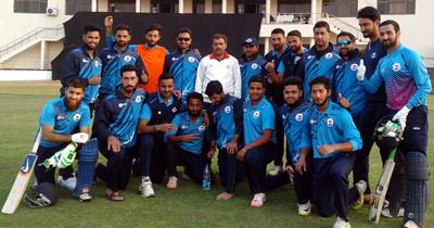 J&K U-23 Cricket team posing for a group photograph after defeating Delhi at Amtar in Himachal Pradesh.