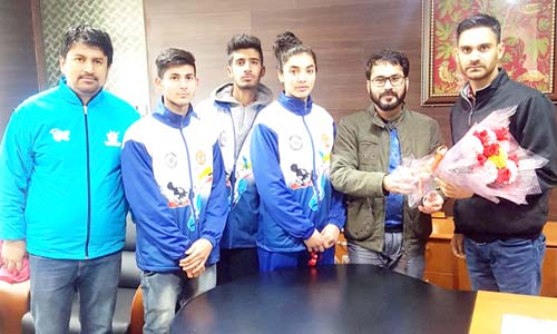 Winners of bronze medal in 37th National Junior Taekwondo Championship being honoured by Waheed-Ur-Rehman Parra in Jammu.