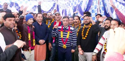 MoS, Transport, Sunil Sharma during a rally with BJP workers from Dachan Kishtwar at Bantalab on Sunday.