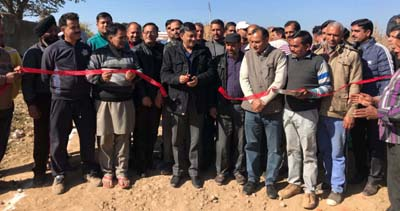 BJP MLC, Vibodh Gupta inaugurating link road in Rajouri on Sunday.