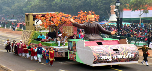Jammu and Kashmir tableau passing through the saluting dais during the dress rehearsal of Republic Day Parade at Rajpath, New Delhi on Tuesday. (UNI)