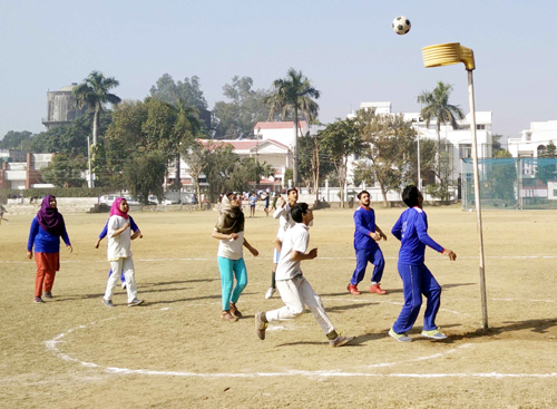 Players in action during a match of 15th Bhai Gurbax Singh Memorial Korfball C'ship in Jammu.