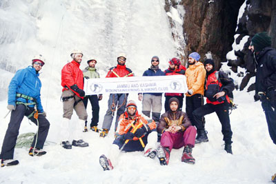 Winners of ice-climbing competition posing for a group photograph at Chandanwari, Pahalgam.