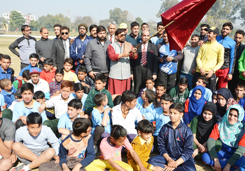 Minister for Forests, Ch Lal Singh inaugurating Athletic Championship in Jammu.
