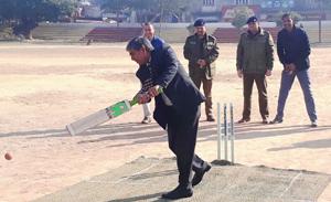Commissioner Secretary Transport, Hemant Kumar Sharma testing his cricketing skills while inaugurating T20 Tournament.