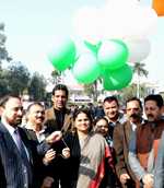 MoS Education, Priya Sethi releasing balloons while declaring open Kabaddi Championship in Jammu.