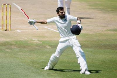 Skipper Virat Kohli celebrating century against South Africa during Second Test match at Centurion Stadium, Pretoria on Monday.
