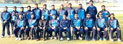 J&K U-23 team posing alongwith Support Staff after registering win against Haryana at Dharamsala.