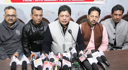MLA Rajesh Gupta addressing media persons in Jammu on Tuesday. —Excelsior/Rakesh