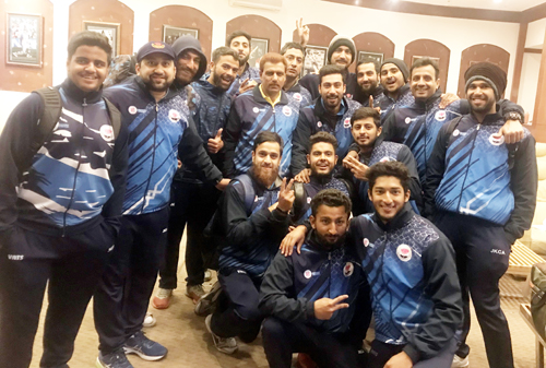 J&K U-23 Cricket Team posing for a group photograph along with support staff after beating HP at Dharamsala.