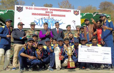 Winners posing along with the dignitaries after claiming T20 title.
