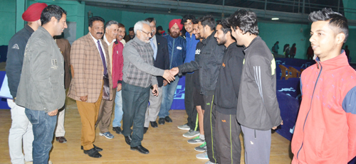 Vice Chancellor JU, Prof RD Sharma interacting with players on Friday.
