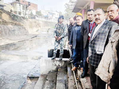 Union Minister Dr Jitendra Singh visiting the site of river Devika project at Udhampur on Tuesday. Also seen are MP Shamsher Singh Manhas and Deputy Commissioner Ravinder Kumar.