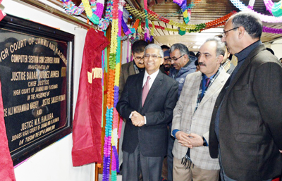 Chief Justice Badar Durrez Ahmed inaugurating computer section cum server room at HC complex Srinagar on Tuesday.