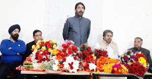 PCC chief GA Mir addressing party leaders and workers in Jammu on Tuesday.