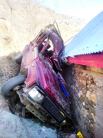 A vehicle which met with accident in Ramban on Thursday. — Excelsior/Parvaiz