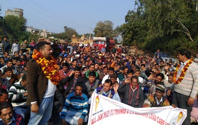 PHE ITI & CP Workers taking out rally at Akhnoor on Wednesday.