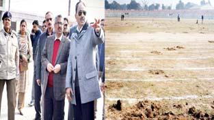 Div Com Dr Mandeep K Bhandari inspecting Republic Day arrangements at MA Stadium, Jammu.