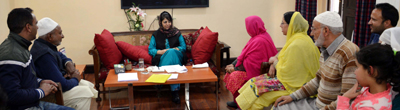 Chief Minister Mehbooba Mufti attending deputations in Jammu on Saturday.