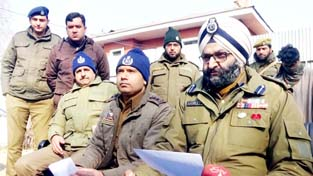 SP Sopore, Harmeet Singh addressing a press conference on Monday.