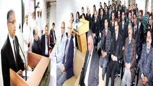 Chief Justice of J&K High Court Justice Badar Durrez Ahmed addressing Civil Judges at Jammu on Monday.