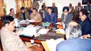 Chief Secretary BB Vyas chairing a meeting at Jammu on Monday.