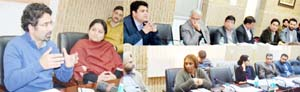 Minister for Tourism, Tassaduq Mufti chairing a meeting at Jammu.