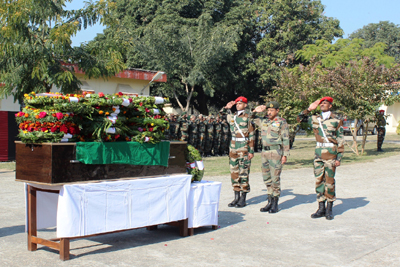 Army personnel paying tributes to soldier martyred in Pak firing.